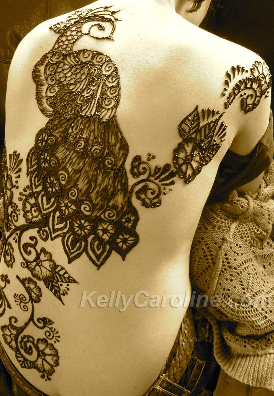 Henna Tattoo Full Back: Peacock Henna Tattoo