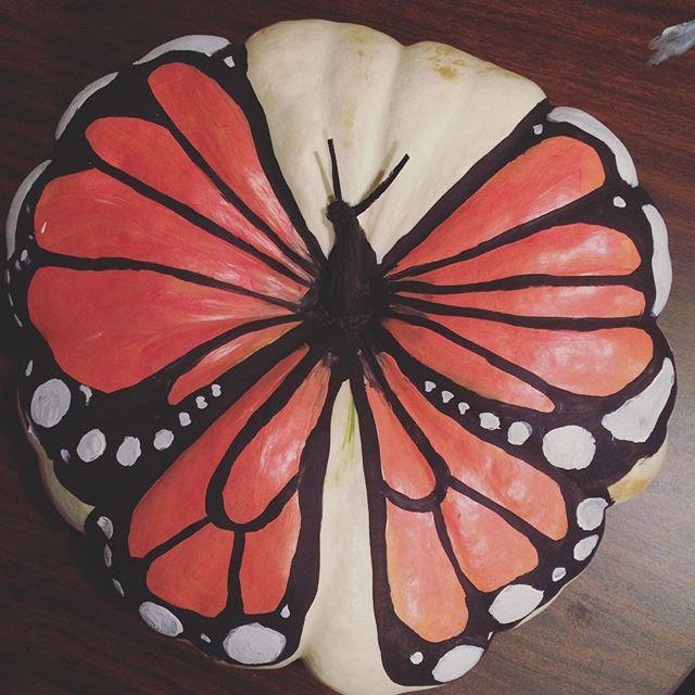 My pumpkin for our 19th annual pumpkin painting contest #butterfly #heirloompumpkin #halloween #marthastewart #monarch #painting #paintings #artstagram #arts_help #art_worldly #acrylic #paintingtime #inktober