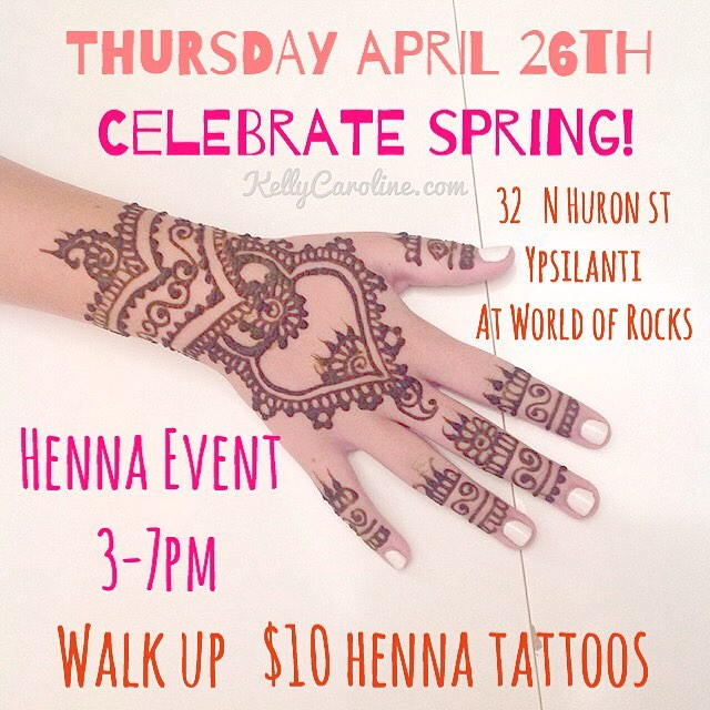 Join us THIS THURSDAY ! Excited the sun is finally back! Let's celebrate by having a henna pop up event for walk up appointments THIS THURSDAY at World Of Rocks in Ypsilanti 3-7pm ! Come on out and get Henna to celebrate Spring ️ . . . #henna #hennas #worldofrocks #ypsireal #hennaartist #kellycaroline #michigan #michiganartist #dearborn #dearbornheights #hennadesign #hennatattoo #hennatattoos #flowers #yoga #yogi #mandala #ypsi #ypsilanti #annarbor #annarbormichigan #mehndi