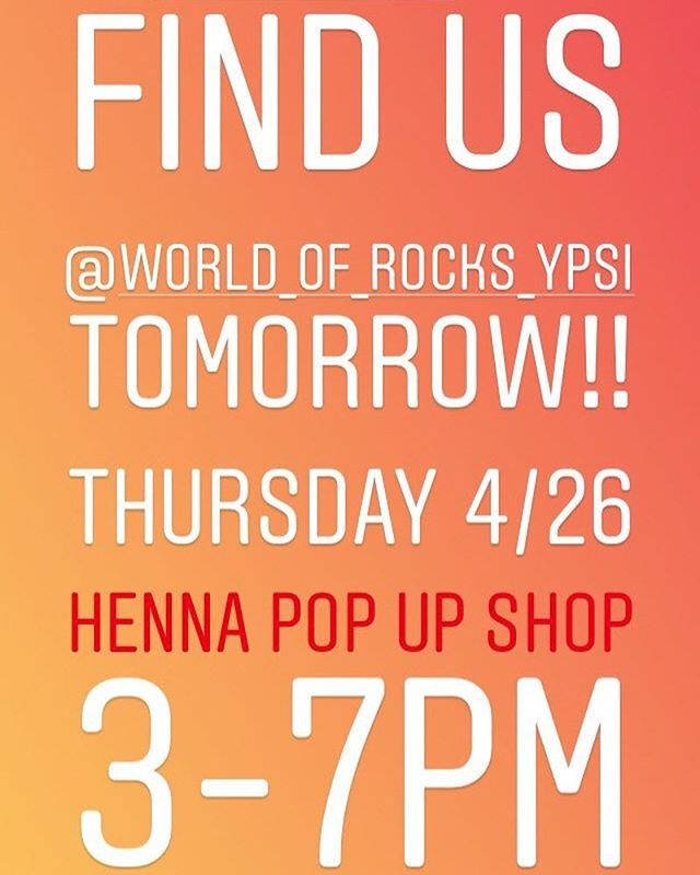 Join us TOMORROW! THURSDAY ! Excited the sun is finally back! Let's celebrate by having a henna pop up event for walk up appointments THIS THURSDAY at World Of Rocks in Ypsilanti 3-7pm ! Come on out and get Henna to celebrate Spring ️ . . . #henna #hennas #worldofrocks #ypsireal #hennaartist #kellycaroline #michigan #michiganartist #dearborn #dearbornheights #hennadesign #hennatattoo #hennatattoos #flowers #yoga #yogi #mandala #ypsi #ypsilanti #annarbor #annarbormichigan #mehndi