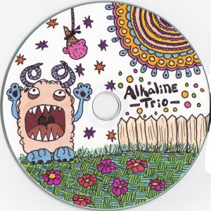 alkaline trio, cd label,drawing, monster, ice cream cone