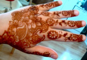 henna flower and paisley hand design