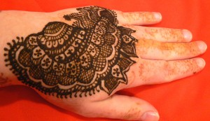 Henna hand checkered design