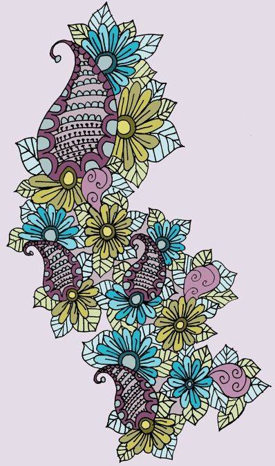 colored paisley drawing