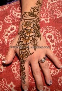 bride, hand, henna, flowers