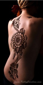 henna, floral, back, body art, ann arbor
