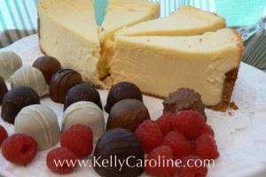 cookie party, dessert, cheesecake factory cheesecake, chocolate truffles, raspberries