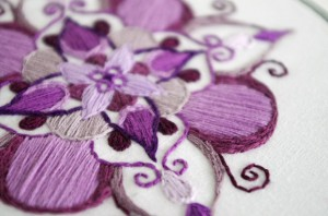 embroidered mandala, henna inspired, purple