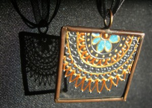 henna, hand painted, glass pendant, necklace