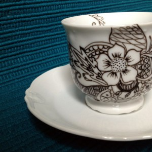 hand painted, henna, tea cup, saucer