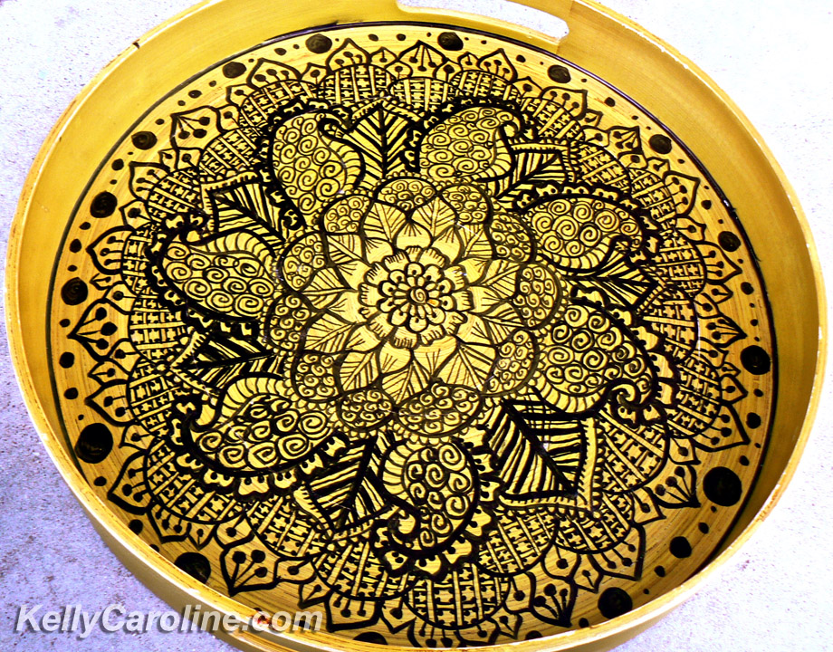 henna serving tray, decoration, design, copic markers