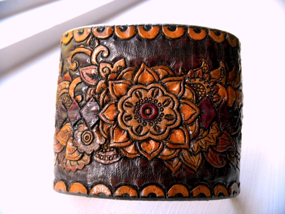 henna cuff, leather cuff, bracelet, custom