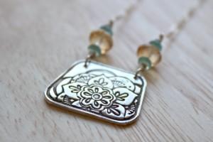 Henna wedding necklace, silver