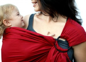 baby carrier, ring sling, red
