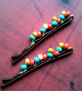 santa fe, bobby pins, beaded hair pins