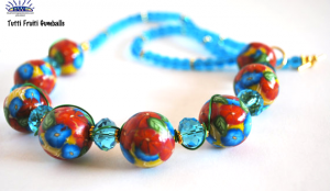 blue, yellow, clay beads, necklace