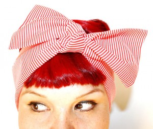 red, white, striped, rockabilly, retro, bow, hair