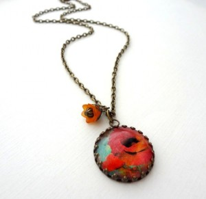orange flower, necklace
