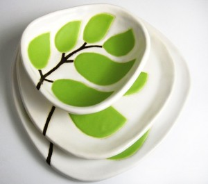 green leaves, ceramic dishes