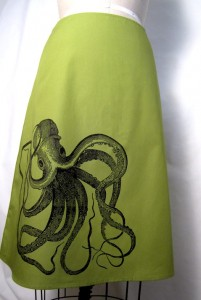 green skirt, octopus screenprint