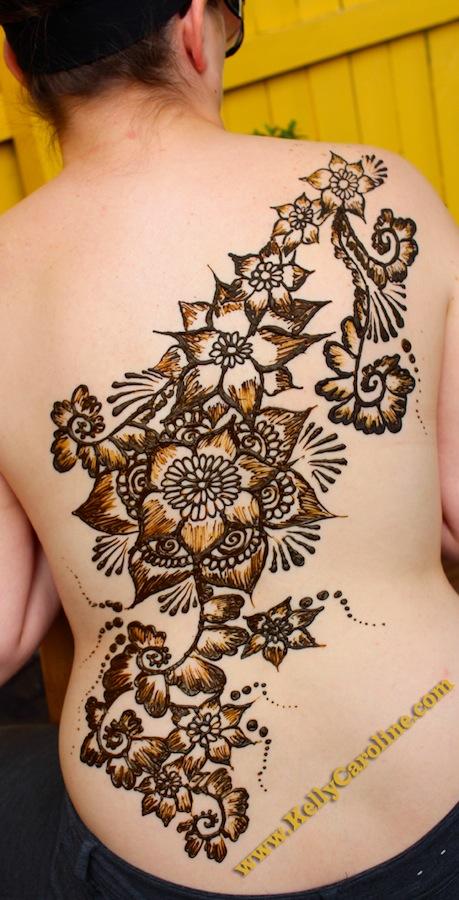 henna back design