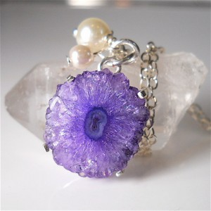 purple, geode, necklace