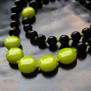 lime green, bead necklace