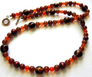 autumn brown, red, orange, bead necklace