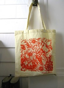 cotton tote bag, orange floral print, reusable grocery bag