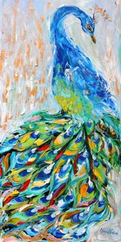 peacock, painting, oil, canvas, colorful