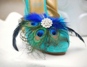 peacock feather, shoe clips