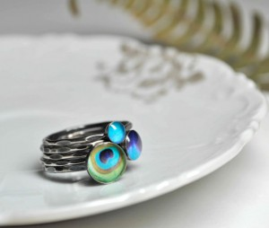 peacock, stacking rings