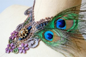 peacock, vintage, collar, necklace