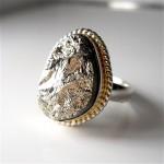 pyrite, druzy, ring