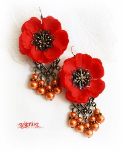 flower earrings, red, statement jewelry