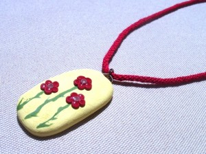 polymer clay, pendant, floral necklace