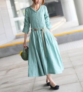 teal dress, linen dress