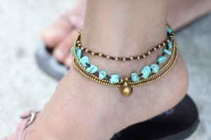 turquoise, ankle bracelet, brass