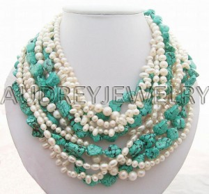 turquoise, bead, pearl necklace