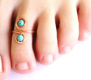 turquoise, copper, toe ring
