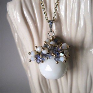 white, czech, glass, necklace