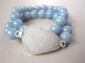 white druzy bracelet, beads