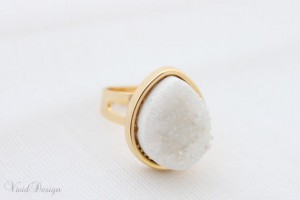 white druzy, agate ring