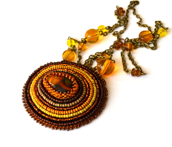 yellow seed bead, necklace, honey color