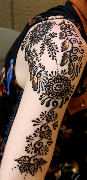 henna arm design, mandala