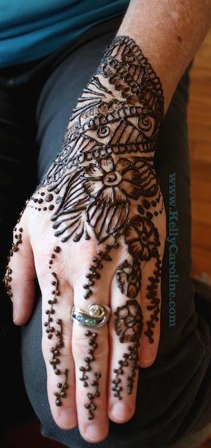 henna glove, hand design