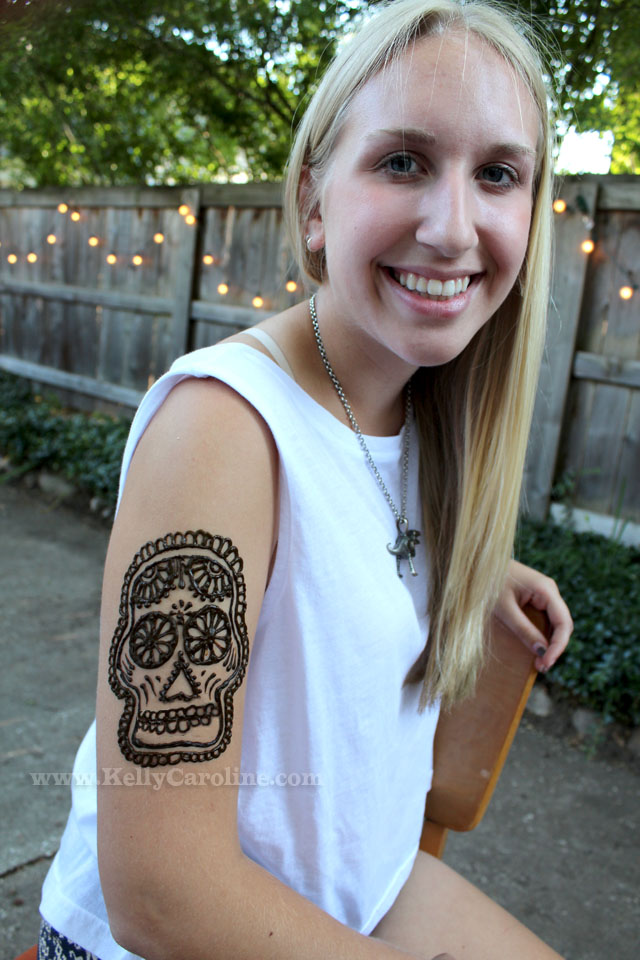 sugar skull, henna tattoo, sugar skull henna design