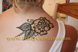 floral henna design, shoulder henna tattoo, party michigan henna