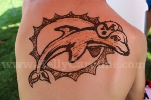 miami dolphin, henna tattoo