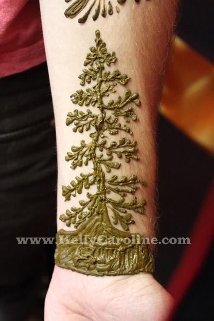 pine tree henna tattoo, henna tattoo, pine tree
